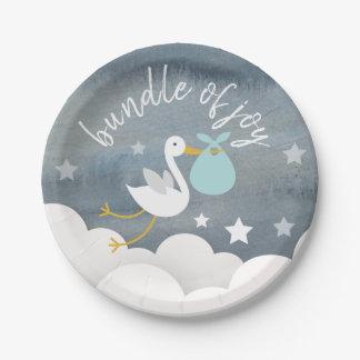 Stork Blue Bundle Stars Watercolor Baby Shower Paper Plate