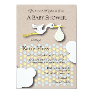 Stork | Boy Baby Shower 13 Cm X 18 Cm Invitation Card