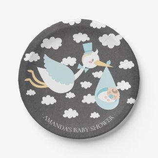 """Stork Boys Baby Shower 7"""" Plate"""