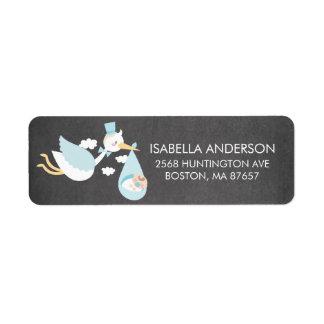 Stork Boys Baby Shower Address Label