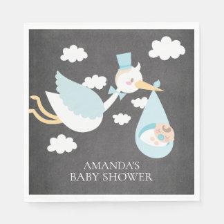 Stork Boys Baby Shower Paper Napkins Disposable Serviette