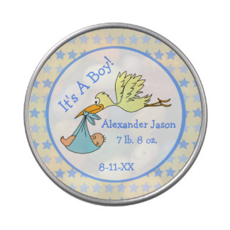 Stork Carrying Baby It's A Boy Baby Shower Favor Candy Tin