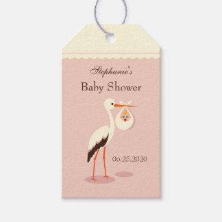 Stork carrying cute baby Baby Shower Gift Tag