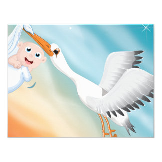 Stork carrying new born Baby Custom Announcement