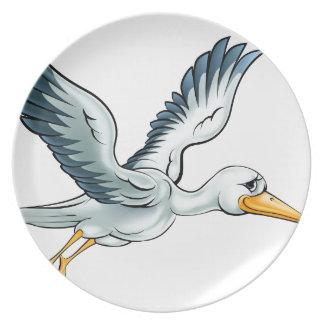 Stork Cartoon Bird Plate