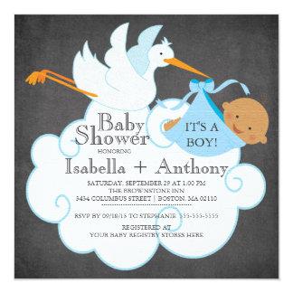 Stork Chalkboard African American Boy Baby Shower 13 Cm X 13 Cm Square Invitation Card