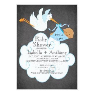 Stork Chalkboard African American Boy Baby Shower 13 Cm X 18 Cm Invitation Card