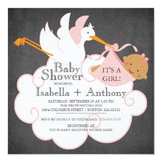 Stork Chalkboard African American Girl Baby Shower 13 Cm X 13 Cm Square Invitation Card