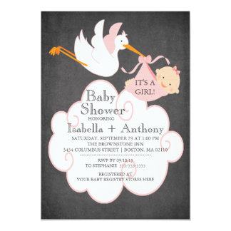 Stork Chalkboard GIRL Baby Shower Invitatation 13 Cm X 18 Cm Invitation Card