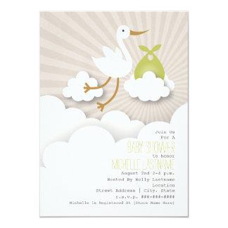 Stork + Clouds Baby Shower - Green 11 Cm X 16 Cm Invitation Card