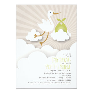 Stork + Clouds Baby Shower - Green 11 Cm X 16 Cm Invitation Card