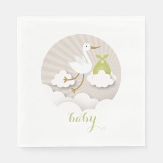 Stork + Clouds Neutral Green Baby Shower Napkins Paper Napkin
