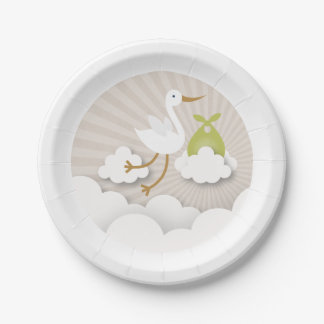 Stork + Clouds With Green Bundle Baby Shower 7 Inch Paper Plate