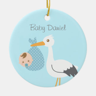Stork Delivers Cute Baby Boy Nursery Room Decor Ceramic Ornament