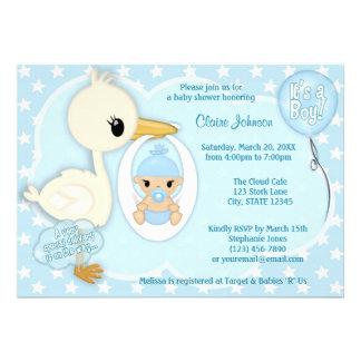 Stork Delivery baby shower invitation BOY BLUE 2A
