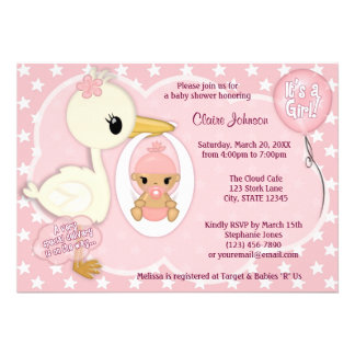 Stork Delivery baby shower invitation GIRL PINK 1B