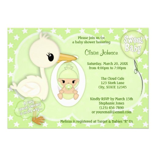 Stork Delivery baby shower invitation GREEN 3A