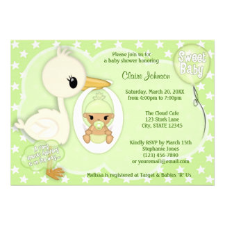 Stork Delivery baby shower invitation GREEN 3B