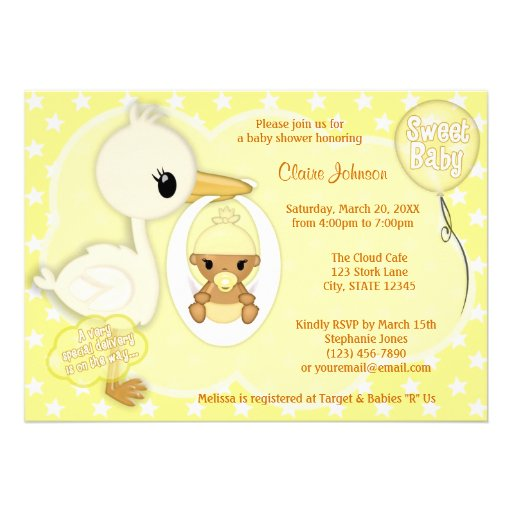 Stork Delivery baby shower invitation YELLOW 4C