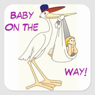 Stork Delivery Baby Square Sticker