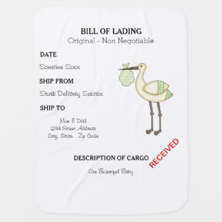 Stork Delivery Bill of Lading Baby Blanket - Green