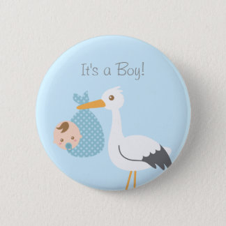 Stork Delivery Cute Baby Boy Shower Party Favor 6 Cm Round Badge