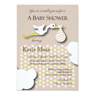 Stork | Girl Baby Shower 13 Cm X 18 Cm Invitation Card