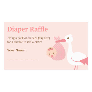 Stork Girl Baby Shower Diaper Raffle Tickets Business Cards