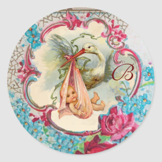 STORK GIRL BABY SHOWER PINK ROSES,FLOWERS MONOGRAM ROUND STICKERS