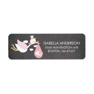 Stork Girls Baby Shower Address Label