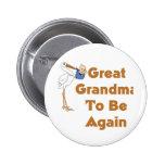 Stork Great Grandma To Be Again Pins