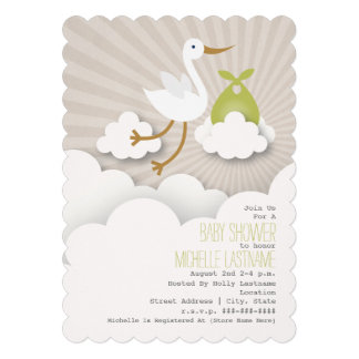 Stork In The Clouds Baby Shower - Green Cards