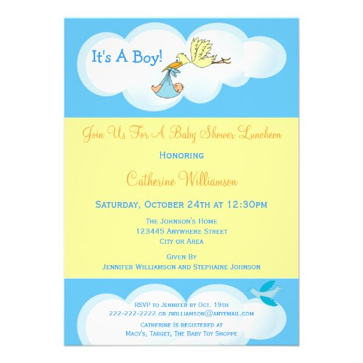 Stork in The Clouds Blue Baby Boy Shower Luncheon Announcement