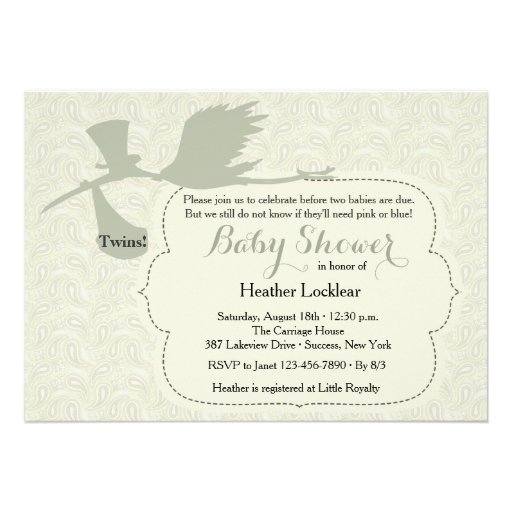 Stork is on the Way Baby Shower Invitation Custom Invitations