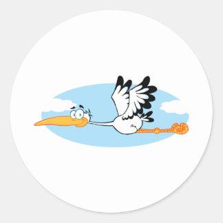 Stork Mascot Cartoon Character Classic Round Sticker