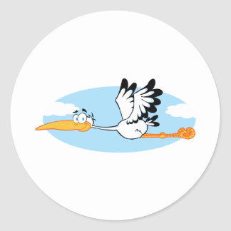 Stork Mascot Cartoon Character Round Sticker