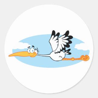 Stork Mascot Cartoon Character Round Sticker