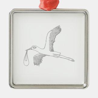 stork metal ornament