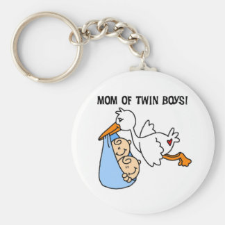 Stork Mom of Twin Boys Basic Round Button Key Ring