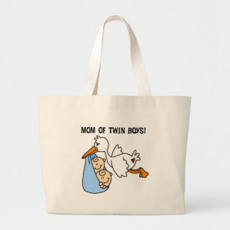 Stork Mom of Twin Boys Jumbo Tote Bag