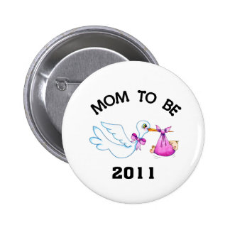 Stork Mom to Be 6 Cm Round Badge
