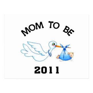 Stork Mom to Be Boys Postcard