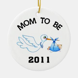 Stork Mom to Be Boys Round Ceramic Decoration
