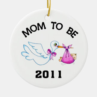 Stork Mom to Be Round Ceramic Decoration