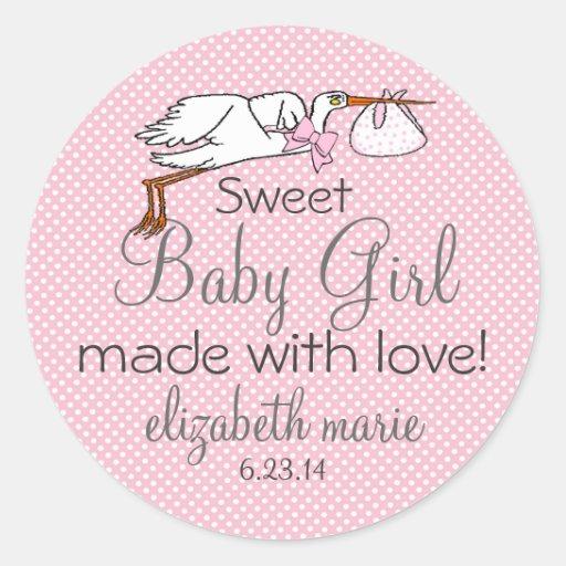 Stork-Pink Baby Shower Favor Round Sticker