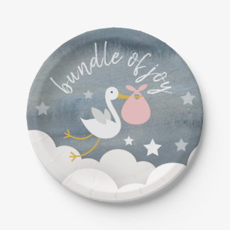 Stork Pink Bundle Stars Watercolor Baby Shower Paper Plate