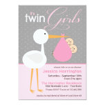 Stork Pink Twin Bundle Baby Shower Invitations 13 Cm X 18 Cm Invitation Card