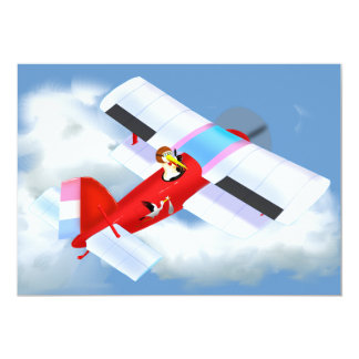 "Stork Plane Baby Shower Invitation 5"" X 7"" Invitation Card"