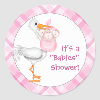 Stork & Triplet Girls Baby Shower Classic Round Sticker