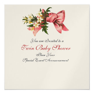 STORK TWIN BABY GIRL SHOWER , champagne metallic 13 Cm X 13 Cm Square Invitation Card